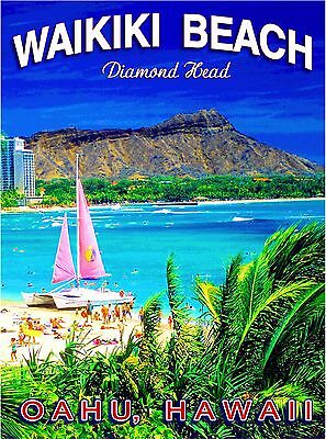Hawaii Diamond Head Waikiki Oahu United States Travel Advertisement Poster