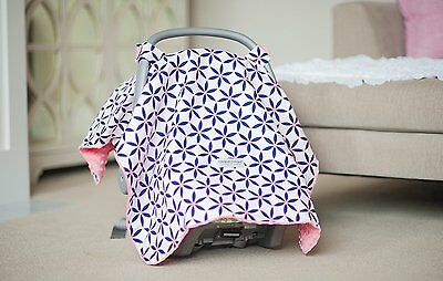 Carseat Canopy Baby Carseat Cotton Blanket Cover w/ Attachment Straps - KENDRA