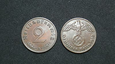 Lot of Germany coins 2 pfennig  with Swastika 1937-1940 11 1