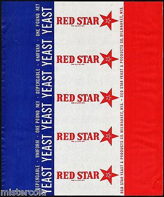 Vintage wrapper RED STAR YEAST Milwaukee Wisconsin unused new old stock n-mint