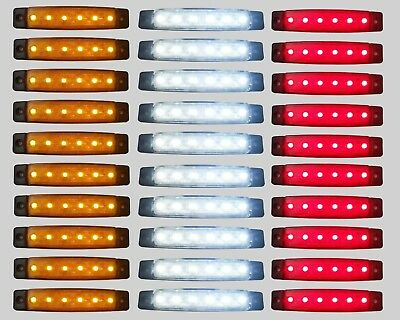 30 pcs LED SIDE MARKER LIGHT WHITE YELLOW RED 12V 6 SMD POSITION TRUCK TRAILER