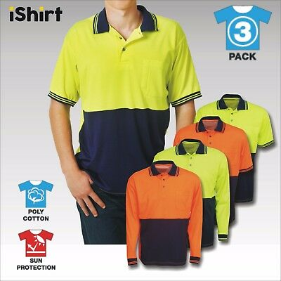 3 X Hi Vis Cotton Back Polo Work Shirt Poly Cotton Safety Workwear Long Sleeve