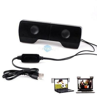 Mini Portable Clip-on USB 2.0 Wired Speakers Soundbar System for Laptop Notebook