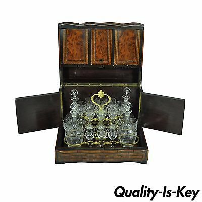 Antique French Brass Boulle Inlaid Tantalus Box & Glass Cordial Decanter Set