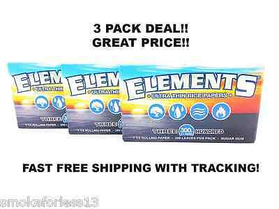 ELEMENTS 300s RICE ROLLING PAPERS 1 1/4 SIZE *3 PACKS 300 LEAVES EACH=900*