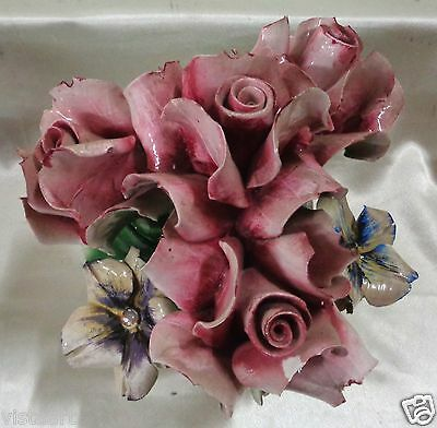 "Vintage Decorative Capodimonte Italian Pink Rose Bouquet- 9"" Tall"