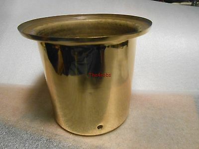 """Solid Brass Polished Lamp Base Part 5 1/8"""" Tall 5 3/4"""" Wide"""