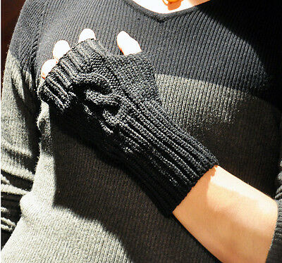 Hot New Men's Fashion Fingerless Mod Winter Soft Cable Knit Couples Gloves Black