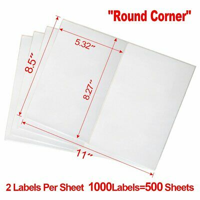 1000 Round Corner Half Sheet Shipping Labels 8.5x5.5 For Laser Inkjet Printer