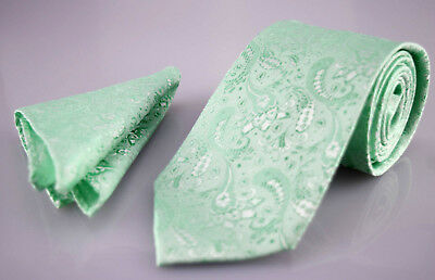 Mint Green Mens Tie and Handkerchief Set -Silk Floral Pocket Square Napkin Hanky
