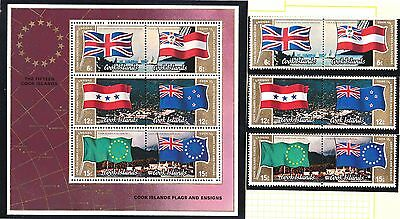 Cook Islands 1983 Flags & Ensigns 2 Sets + 2 Minisheets MNH