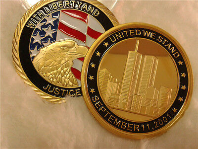 9/11 United we Stand 24Kt Gold Coin New York LIBERTY & JUSTICE USA 911 Eagle
