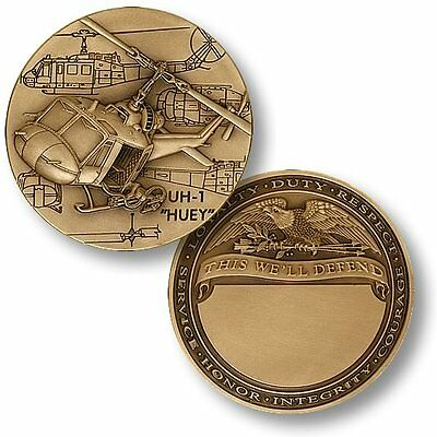 US Army UH-1 Huey Helicopter Challenge Coin Engraveable Vietnam Gunship Veteran