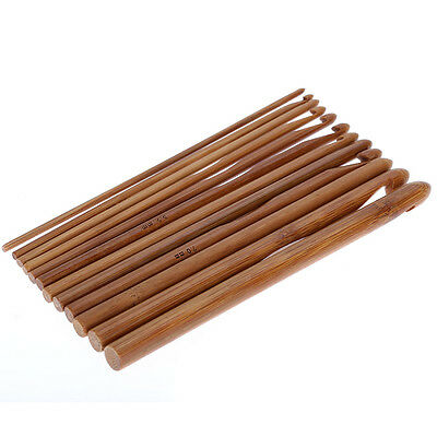 12 pcs Bamboo Wooden Handle Crochet Hooks 3mm-10mm Knit Handcraft Needle Yarn
