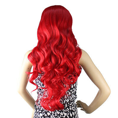 "New 32"" Long Heat Resistant Big Spiral Curl Dark Red & Black Cosplay Wig 80cm"