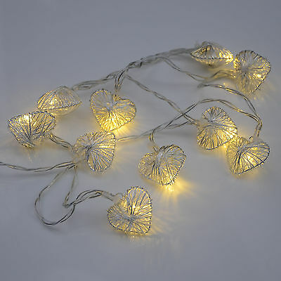 Battery Operated Warm White LED Silver Heart Fairy Lights Christmas Decoration
