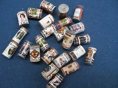 Miniature Dollhouse-24 Cans Vintage Food For Doll Kitchen A