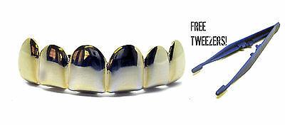 Grillz Semplice Placcati Oro Top File Hip Hop Bling-Bling Grillz