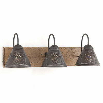 VANITY LIGHT Wood & Metal with PUNCHED TIN Lamp Shades Rustic Country 3 Light
