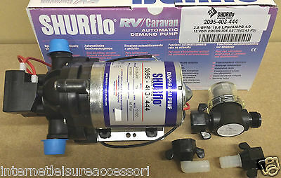 SHURFLO Trailking 12volt  45psi 10LPM / 4amps  (2095-403-444) & Wing Nut Filter