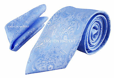 Luxury Blue Mens Tie and Handkerchief Set Silk Floral Pocket Square Napkin Hanky