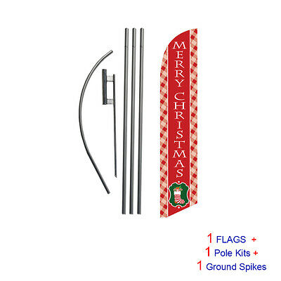 Merry Christmas (red) 15' Feather Banner Swooper Flag Kit with pole+spike