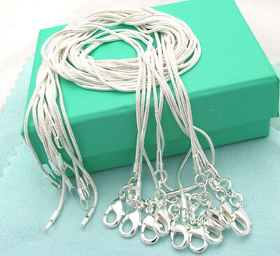 wholesale  sterling solidsilver 1mm snake chain necklace 5 pcs  C01