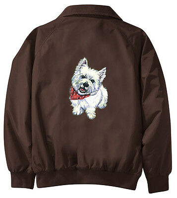 West Highland White Terrier Embroidered Jacket - Jacket Back - Sizes XS thru XL