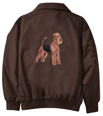 Airedale Terrier Embroidered Jacket - Jacket Back - Sizes XS thru XL