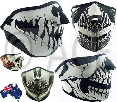 Neoprene HALF Face Reversible Biker Skateboard Motor Bike Scary Sports Mask