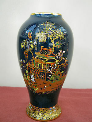 Carlton Ware 'Bleu Royale' Baluster 'Japanese Pagoda' Design  Vase - PERFECT!