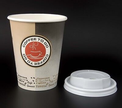 100 Hartpapier Coffee to go Becher 0,3 l mit Deckel Kaffeebecher Pappbecher