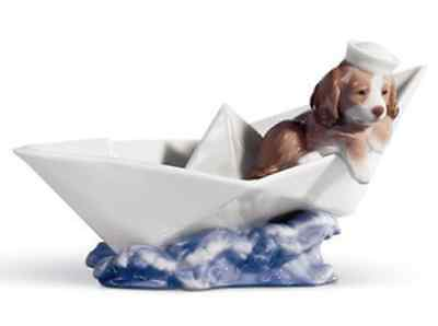 Lladro Porcelain Little Stowaway Figurine Ornament Puppy Dog in Boat 01006642