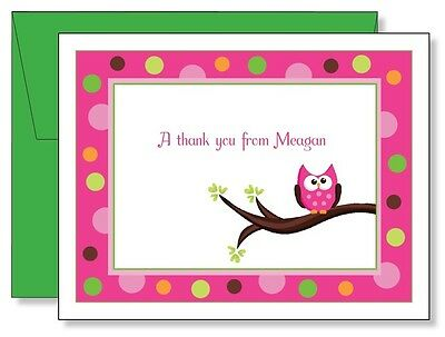 Custom Personalized Pink Owl Thank You Note Cards