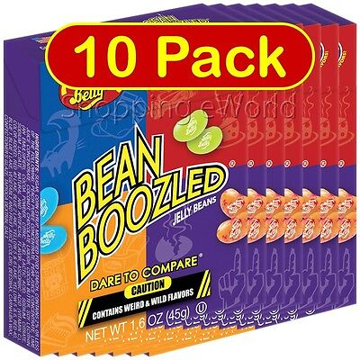 10 Pack BEAN BOOZLED 1.6oz Jelly Belly ~ Weird & Wild Flavors ~ Candy Challange