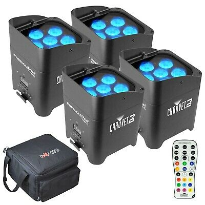Chauvet DJ Freedom Par Tri 6 RGB LED Wireless Stage Wash Light 4 Pack + Cases
