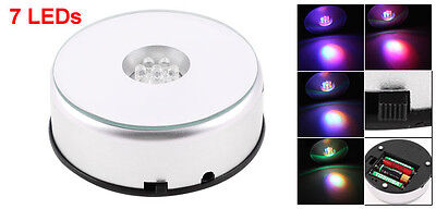 7 LED Light Stand Turntable Rotating Colorful Base for Display Crystals NEW