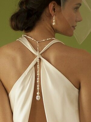 Silver White Pearl & Clear Crystal Long Back Formal Prom Bridal Necklace