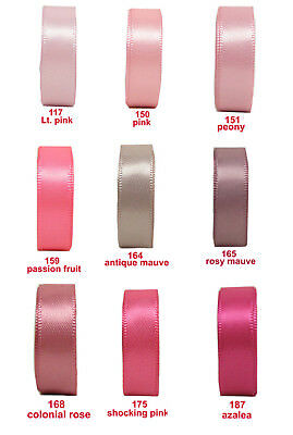 "25y 50y 100y 6mm 1/4"" Pink Shades Double Faced Sided Premium Satin Ribbon Eco"