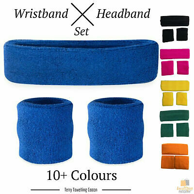 WRISTBAND & HEADBAND SET Tennis Terry Towelling Cotton Sweat Band Team Gym Kit