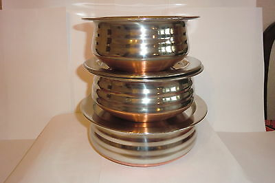 3 piece stainless steel / copper based serving dishes, with lids- large Set