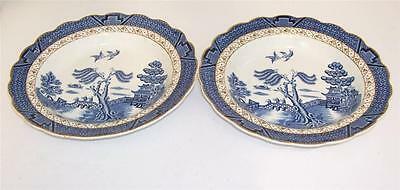 """Booths """"Real Old Willow"""" Set of 2 Shallow Dessert Bowls.A8025."""