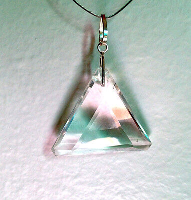 John of God Blessed and Energized Clear Quartz Crystal Triangle Pendant