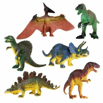 6Piece Jumbo Dinosaur Playset Toy Animals Action Figures Set T Rex Triceratops