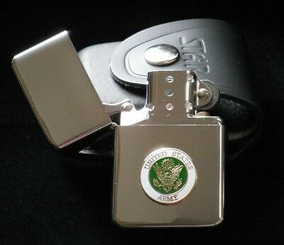 Lighter US Army Emblem with Leather Case Windproof Military Custom Engraved Gift