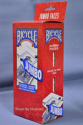 BICYCLE PLAYING CARDS 12 JUMBO Decks 6 BLUE 6 RED Standard 808 Poker Index Bridg