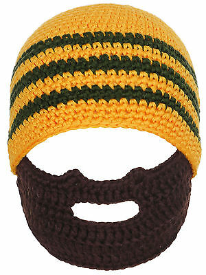 Toddler's Crochet Beanie Knit Caps in Thick Cable with Funny Beard