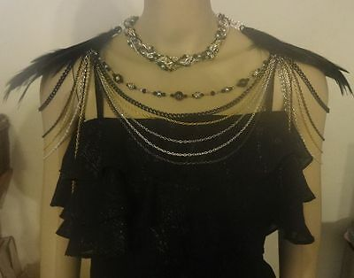 Feathered Black, Beaded and Mixed Metals Shoulder Chain Necklace