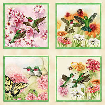 "22""x44 PANEL  HUMMINGBIRDS  BUTTERFLIES  ELIZABETH STUDIO COTTON QUILTING FABRIC"