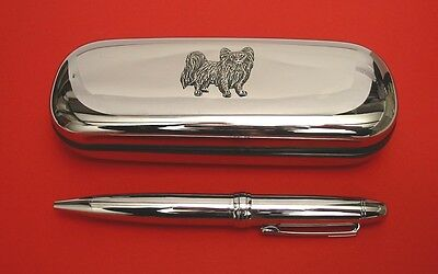 Papillon Dog Pewter Motif On Chrome Pen Box + Ball Point Pen Mother Father Gift